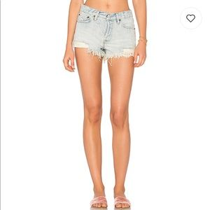 Free People Frayed Denim Button Fly Shorts NWT 30
